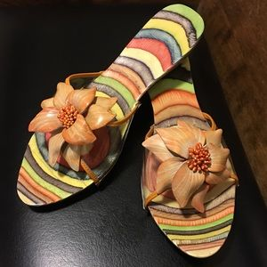 Shoes - BRAND NEW TROPICAL FLOWER WOOD CLOGS SANDALS